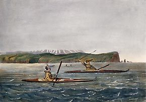 Aleutian hunters from Unalaska in kayaksF.K. Kittlitz, 1826-29.MAE