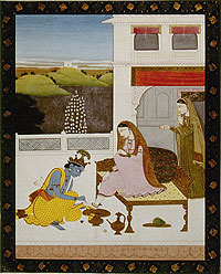 Miniature painting of the deity Krishna painting the feet of his consort, Rhada.