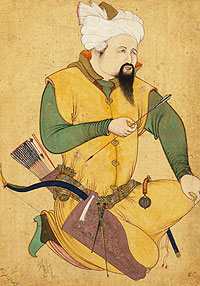 Miniature painting of a Turkoman or Mongol Chief holding an arrow.