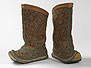 Pair of women's boots, brown leather embellished with polychrome chain-stitch embroidery overall.