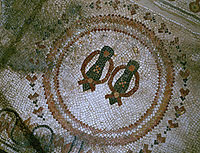Floor mosaic design from a Christian Church depicting sandals as a reminder to visitors to remove their sandals and wash their feet.