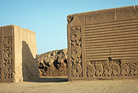 Photograph of a relief sculpture from the ruins of the Chimu capital Chan Chan.