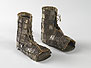 Open toe textile boot covered with 81 rectangular appliqued silver medallions.