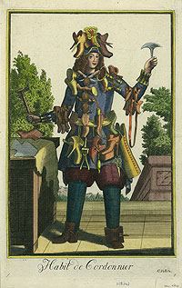 Full colour print from an etching entitled, 'Habit de Cordonnier', printed by Schuhmacher. The print depicts a young shoemaker holding his tools, his outfit covered in shoes.