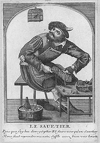 Copperplate etching of a shoemaker wearing a cap.