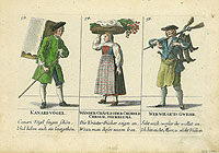 Three coloured calling cards from mid 18th century Switzerland depicting a bird salesman, a woman with a basket on her head with flowers, and a man carrying guns and boots on his shoulders.