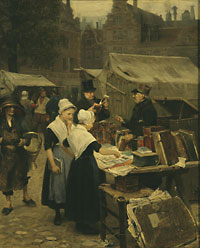 Painting of a street scene depicting an antique dealer in Amsterdam.