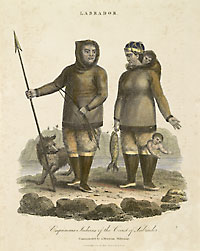 Hand coloured etching of man and woman in Eskimo costume. He holds spear and arrows, she has baby in boot and in hood of jacket and holds a fishing her right hand.