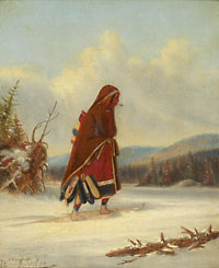 Oil painting entitled 'The Moccasin Seller'. Indian woman wearing a blanket and smoking a pipe crosses the snow on wooden plank snowshoes and carries several pairs of embroidered moccasins in her hand.
