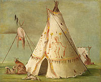 Painting of a teepee constructed out of 25 Buffalo skins.