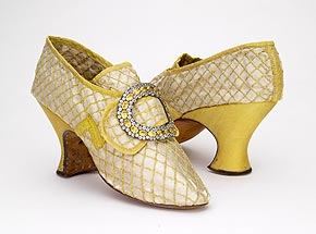 Silk shoes with yellow silk covered heelsPossibly French, 1760sBSM P83.205.AB with P98.44 buckle