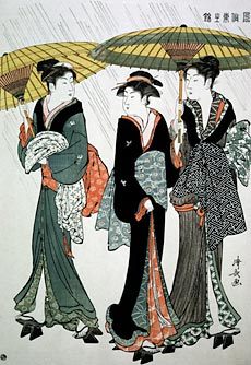 Three Beauties in the RainColour wood block printTorii Kiyonaga© Burstein Collection/CORBIS
