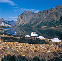 Landscape photograph of an Inuit fishing camp north of Nain, Labrador. Salmon and Char are most commonly fished.