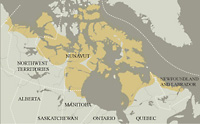 A map rendering depicting the regions occupied the eight general groups of Inuit found in Canada's Arctic.