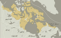 A map rendering depicting the regions occupied the eight general groups of Inuit found in Canada's Arctic