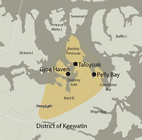 A map rendering showing the regions of the Canadian Arctic frequented by the Mackenzie Delta Inuvialuit Inuit Community.