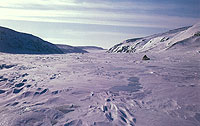Photography of the frozen landscape traveled by the Netsilik Inuit.