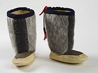 A pair of depilated bearded seal skin boots.