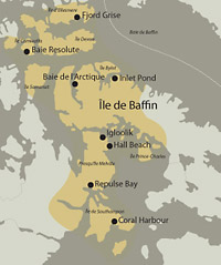 Carte illustrant la rpartition gographique des Inuits iglulik.