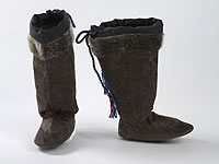 A pair of shaved bearded seal skin boots.