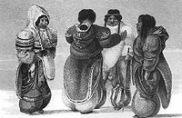 Lithograph of Iglulik Inuit women wearing traditional skin amauti and leggings.