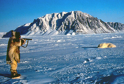 Top Frame A Photograph Of An Iglulik Inuit Man Tookillkee Wearing Traditional Clothing Hunting