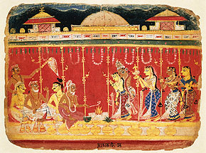 Mariage des parents de KrishnaMiniature Rajasthani, vers 1520-1550© Stapleton Collection/CORBIS