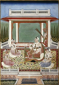 Nizam Sikander Jah of Hyderabad with his ministers in a garden.Courtesy of Simon Ray Indian and Islamic Works of Art, London