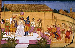 In a scene from The Ramayana, Rama applies tilak, an auspicious mark, to the forehead of the monkey deity Hanuman. Hanuman is being honoured for killing Mahiravana, the mighty son of Rama's foe, Ravana. As a sign of status, Rama wears padukas.Miniature, Datia. Bundelkhand, circa 1780The National Museum, New Delhi, 61.519
