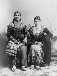 This photograph of Jennie Bobb and her daughter Nellie Longhat from around 1915 show the two women in fancy dress. Their moccasins are traditional Delaware in cut, but show the Prairie influence in the extravagance of the beading.National Anthropological Archives, Smithsonian Institution, 56928