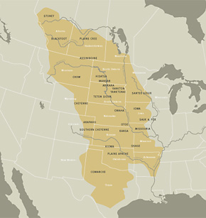 Map of Great Plains with tribes names