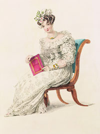 A painting of a woman wearing an early 19th century dress with a round ruffled neckline and long puffed sleeves, accompanied by a foral headpiece.