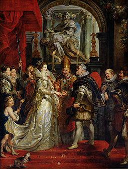 Painting of Marie de Medici and Henri IV during their wedding ceremony.