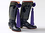 Pair of Czechoslovakian man's folk boots with purple tassels.