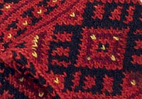 A detail photograph of a pair of woolen bride's chorapi or socks.