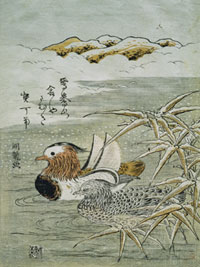 Woodblock print of a male and femal Mandarin duck among reeds.