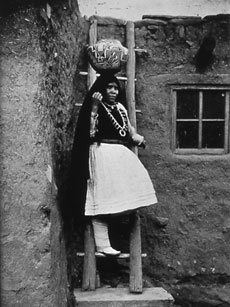 Zuni Bride with wedding bootsPhoto by William Pennington, 1910BSM P80.1432
