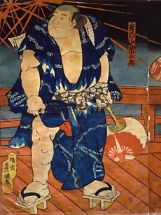 Lutteur sumo portant des getaUtagawa Kunisada (1785-1864)Victoria and Albert Museum, London/Art Resource, NY