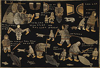 Wall hanging of appliquéd sealskin on cloth depicting the process of kamik production.
