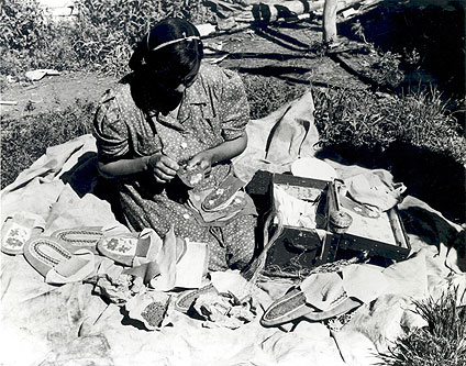 Moccasin-making at Fort Nelson, B.C., July 1949